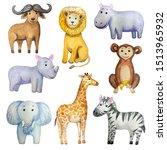 watercolor cute cartoon african ...   Shutterstock . vector #1513965932