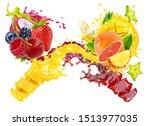 fresh ripe orange  pineapple ... | Shutterstock . vector #1513977035