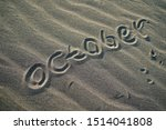 Welcome October Word On Sand
