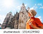 Woman Tourist Stands Near St....