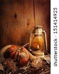 Still Life. Pumpkin  Lighted...
