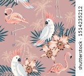 tropical pink flamingo  parrot... | Shutterstock .eps vector #1514235212