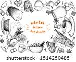 hot drinks. mulled wine  winter ... | Shutterstock .eps vector #1514250485