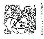 halloween doodle black liner... | Shutterstock .eps vector #1514276822