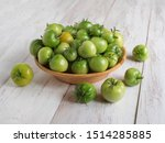 Green Unripe Tomatoes In A Bowl ...