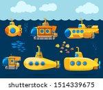 bathyscaphe cartoon  yellow... | Shutterstock .eps vector #1514339675