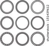 set of 9 round frames    Shutterstock .eps vector #151439612