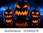 group pumpkins for halloween on ... | Shutterstock . vector #151442276