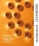 top view of diwali design with... | Shutterstock .eps vector #1514485385