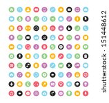 100 colorful vector icons for...