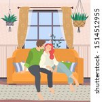 couple sitting on couch in... | Shutterstock .eps vector #1514512955