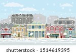 a christmas street scene with... | Shutterstock .eps vector #1514619395