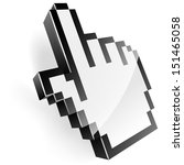 3d Illustration Of Pixel Hand...
