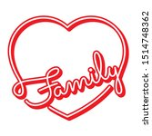 red family word and heart... | Shutterstock .eps vector #1514748362
