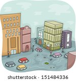 illustration of a flooded city... | Shutterstock .eps vector #151484336