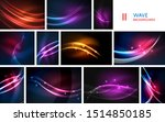 set of wave lines  neon light...   Shutterstock .eps vector #1514850185