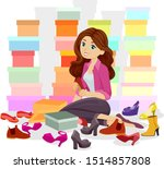 illustration of a teenage girl... | Shutterstock .eps vector #1514857808