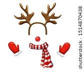 funny christmas reindeer mask...   Shutterstock .eps vector #1514870438