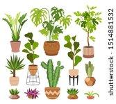 indoor plants flat color... | Shutterstock .eps vector #1514881532