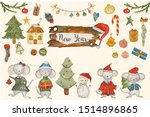 a large watercolor set with... | Shutterstock . vector #1514896865