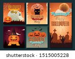 halloween party card set design | Shutterstock .eps vector #1515005228