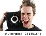 man listening to very loud... | Shutterstock . vector #151501646