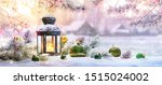 christmas lantern on snow with ... | Shutterstock . vector #1515024002