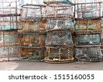 A Stack Of Fishing Pots On A...