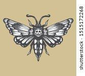Vintage Hand Drawn Skull Moth...