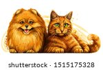 cat and dog. wall sticker.... | Shutterstock .eps vector #1515175328
