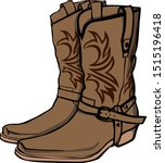 Brown Patterned Cowboy Boots....