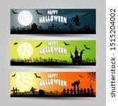 set of three halloween banners  | Shutterstock .eps vector #1515204002