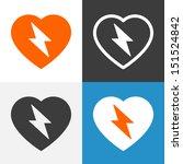 heart with lightning bolt icon. ... | Shutterstock .eps vector #151524842