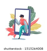concept in flat style with man... | Shutterstock .eps vector #1515264008