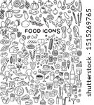food icons set. vector on white ... | Shutterstock .eps vector #1515269765