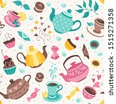 tea time seamless pattern. tea... | Shutterstock .eps vector #1515271358