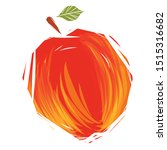 hand drawn sketch red apple....   Shutterstock .eps vector #1515316682