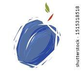 hand drawn sketch blue plum.... | Shutterstock .eps vector #1515318518