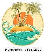 vintage tropical island.vector...