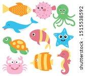 under the sea animals clipart ... | Shutterstock .eps vector #1515538592