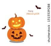 halloween pumpkins with bats...   Shutterstock .eps vector #1515539288