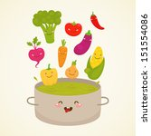 vegetable soup  broccoli ... | Shutterstock .eps vector #151554086