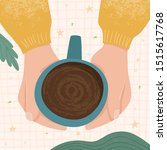 hands hold a cup of tea or...   Shutterstock .eps vector #1515617768