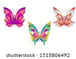 Set Of Vector Butterflies With...