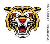 vector old school style tiger...   Shutterstock .eps vector #1515987788