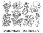 vector set of old school tattoo ... | Shutterstock .eps vector #1516001672