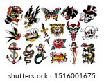 vector set of old school tattoo ... | Shutterstock .eps vector #1516001675