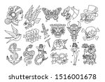 vector set of old school tattoo ... | Shutterstock .eps vector #1516001678