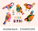 various birds with different... | Shutterstock .eps vector #1516022102