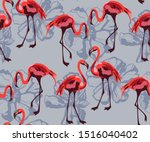 tropical wildlife  flamingo... | Shutterstock .eps vector #1516040402